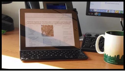 a tablet displays an online class